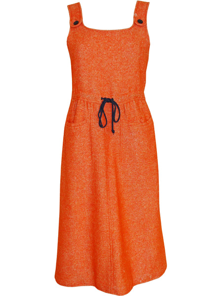 Sold - COURRÈGES 1960s Vintage Orange Wool Dress w/ Buttoned Back Size M