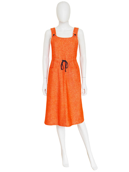 COURRÈGES 1960s Vintage Orange Wool Dress w/ Buttoned Back Size M