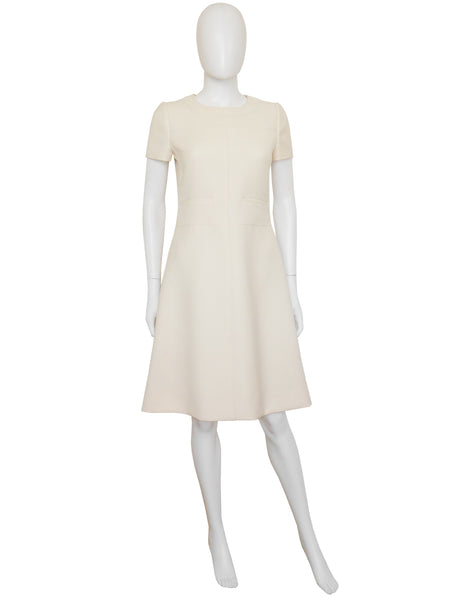Sold - COURRÈGES 1960s Vintage Numbered Cream Beige Space Age Dress Size S