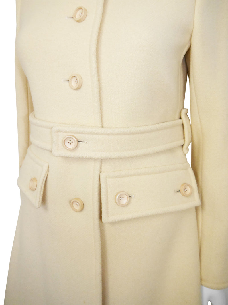 COURRÈGES 1970s Vintage Cream Beige Belted Wool Coat Size S