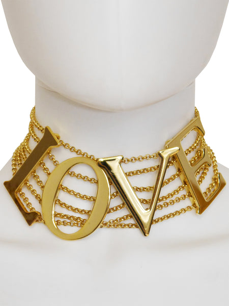 "Sold - DOLCE & GABBANA S/S 2003 Vintage ""LOVE"" Choker Necklace"