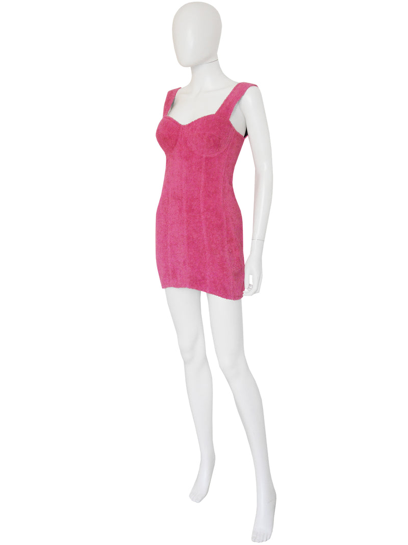 DOLCE & GABBANA Spring Pink Terry Cloth Bustier Mini Dress Size XS