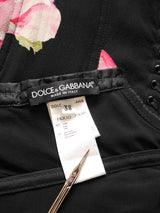 DOLCE & GABBANA Spring 2003 Vintage Lace-Up Corset Lingerie Silk Dress Size XXS