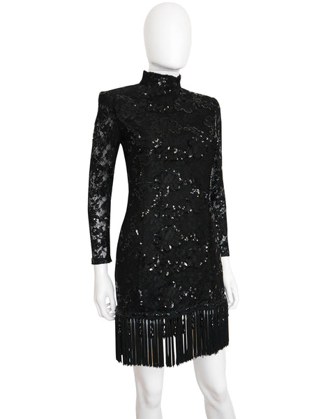 EMANUEL UNGARO 1980s Vintage Fringed Lace Sequin Cocktail Dress Size XS