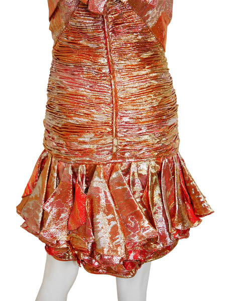 Sold - EMANUEL UNGARO 1980s Vintage Silk Lamé Bustier Cocktail Dress Size XS-S