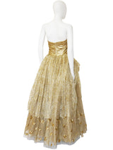 EMANUEL UNGARO 1990s 2000s Vintage Gold Lace Evening Gown Size S