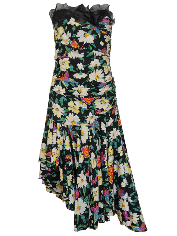 Sold - EMANUEL UNGARO 1980s Vintage Floral Cocktail Dress Size S