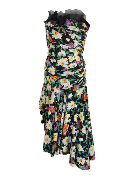 EMANUEL UNGARO 1980s Vintage Floral Cocktail Dress Size S