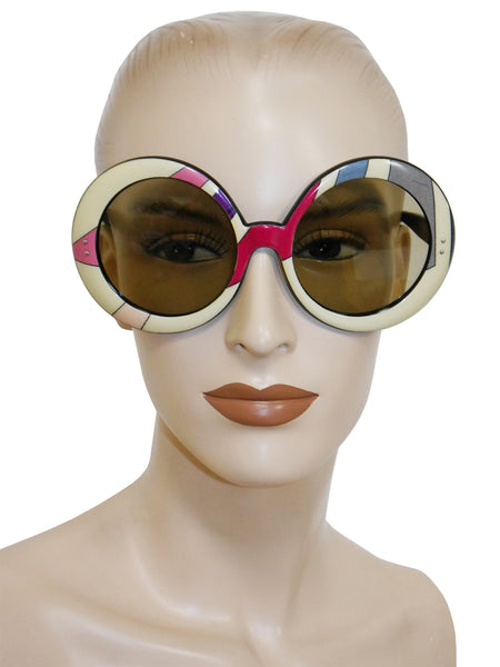 Sold - EMILIO PUCCI 1960s Vintage Round Oversized Sunglasses Shades