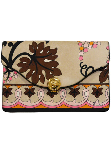EMILIO PUCCI 1960s Vintage Silk Clutch Evening Bag