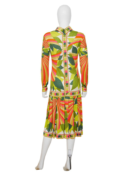 EMILIO PUCCI 1974 Documented Manila Print Silk Dress Size S-M