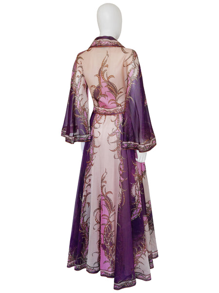 EMILIO PUCCI c. 1973 Vintage Silk Organza Evening Dress Size XS