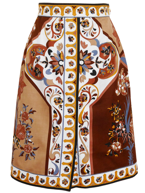 Sold - EMILIO PUCCI Vintage Printed Cotton Skirt Size S