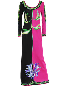 Sold - EMILIO PUCCI 1970s Vintage Couture Silk Jersey Maxi Evening Dress Size M