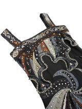 EMILIO PUCCI Vintage Couture Beaded Silk Evening Dress w/ Swarovski Crystals Size XXS