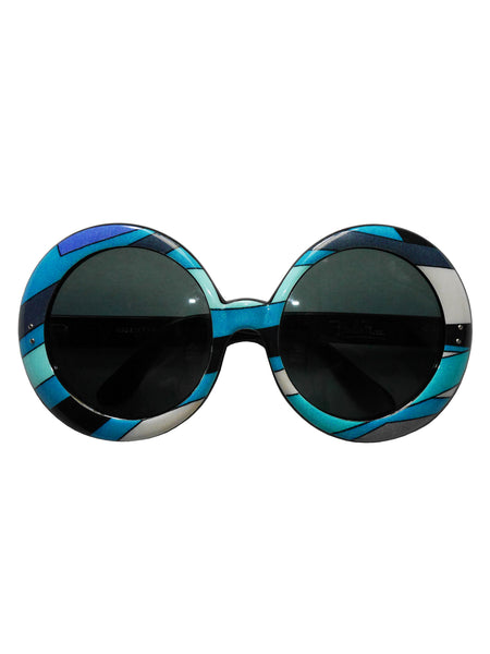 Sold - EMILIO PUCCI 1960s Vintage Round Oversized Sunglasses