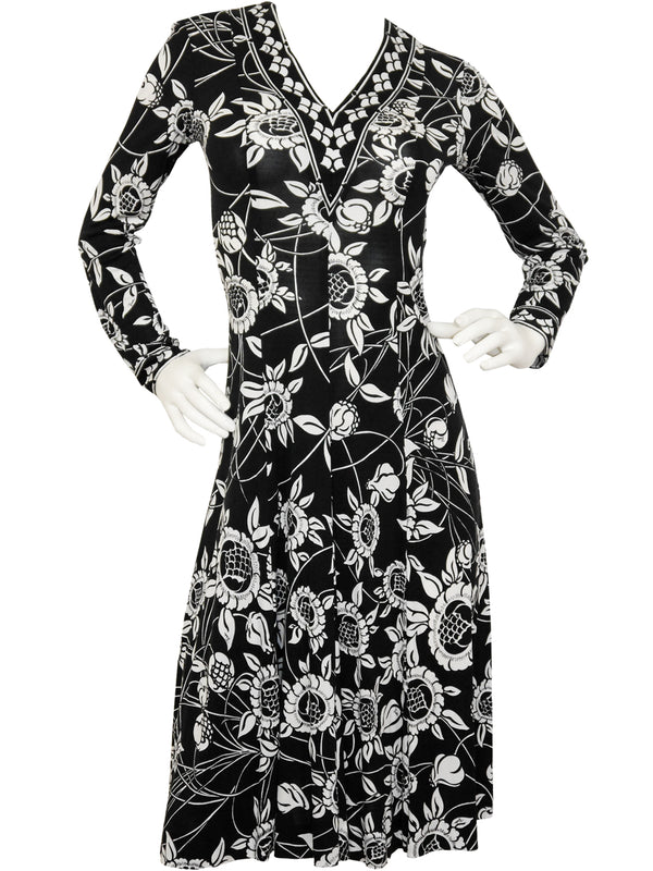 Sold - EMILIO PUCCI 1970s Vintage Printed Silk Dress Size S
