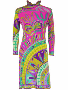 EMILIO PUCCI 1960s Vintage Printed Silk Dress Size S