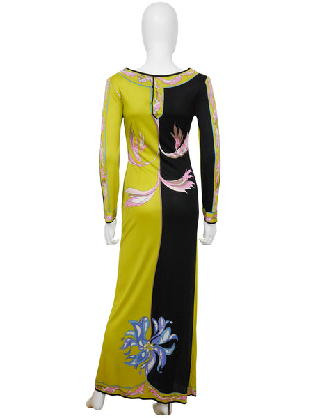 EMILIO PUCCI 1970s Vintage Couture Silk Jersey Maxi Evening Dress Size S