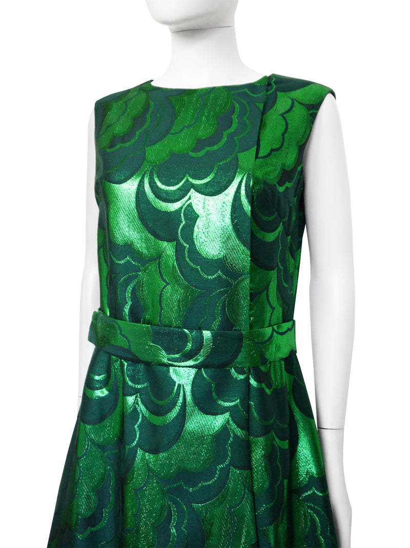 Sold - EMILIO SCHUBERTH 1960s Vintage Poison Green Brocade Evening Party Dress Size M