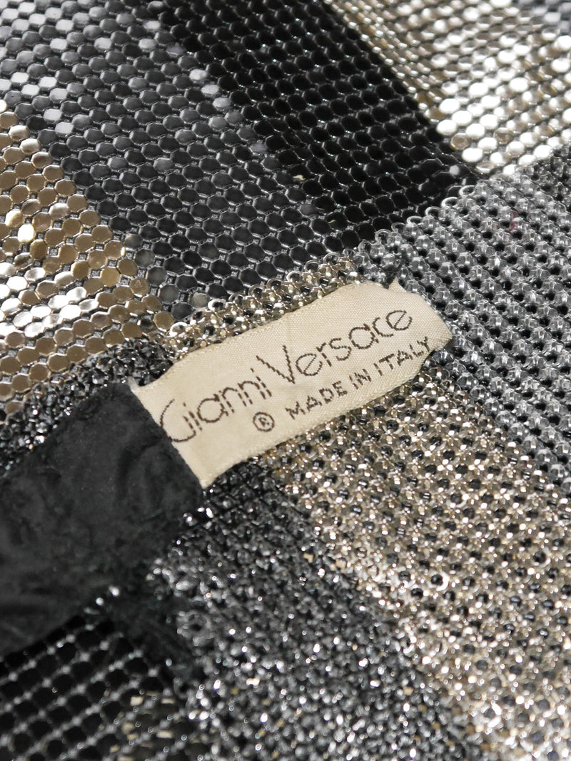 GIANNI VERSACE 1980s Vintage Oroton Metal Mesh Chainmail Evening Top Size XS-S