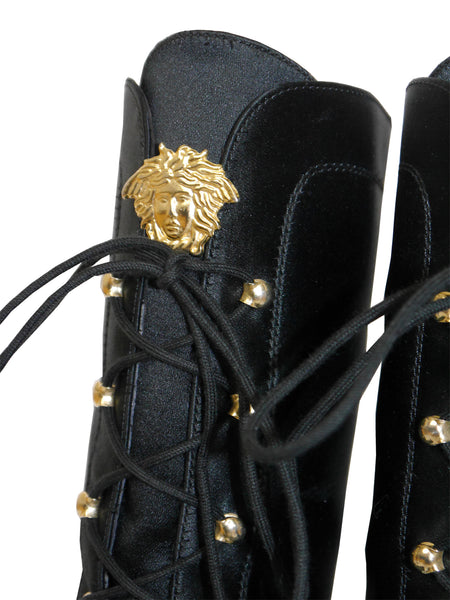 Sold - GIANNI VERSACE 1990s Vintage Silk Lace-Up Combat Boots EU 38-38,5