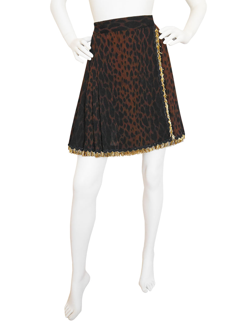 GIANNI VERSACE 1990s Vintage Leopard Pleated Wrap Skirt Size XS