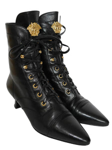 Sold - GIANNI VERSACE 1990s Vintage Lace-Up Boots Medusa EU 36-36,5