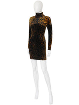 GIANNI VERSACE 1990s Vintage Leopard Print Velvet Bodycon Mini Dress Size XS-S