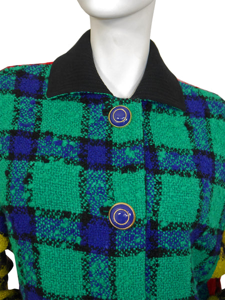 GIANNI VERSACE Couture A/W 1991/92 Vintage Multi-Coloured Plaid Jacket One-Size