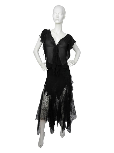 GIANNI VERSACE Couture Silk Chiffon & Lace Set S