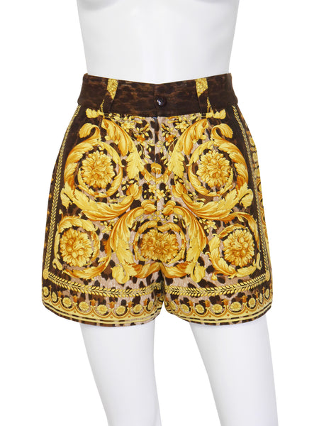 GIANNI VERSACE Couture S/S 1992 Baroque Leopard Print Shorts Size XS