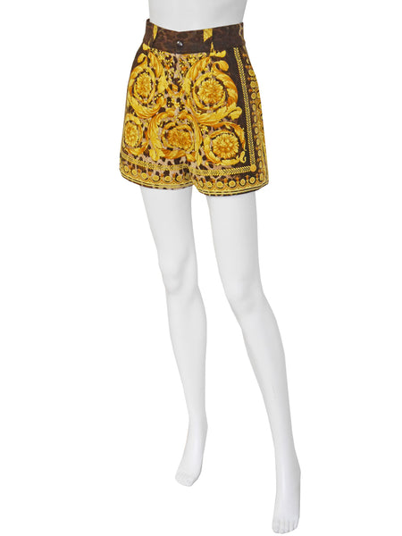 Sold - GIANNI VERSACE Couture S/S 1992 Baroque Leopard Print Shorts Size XS
