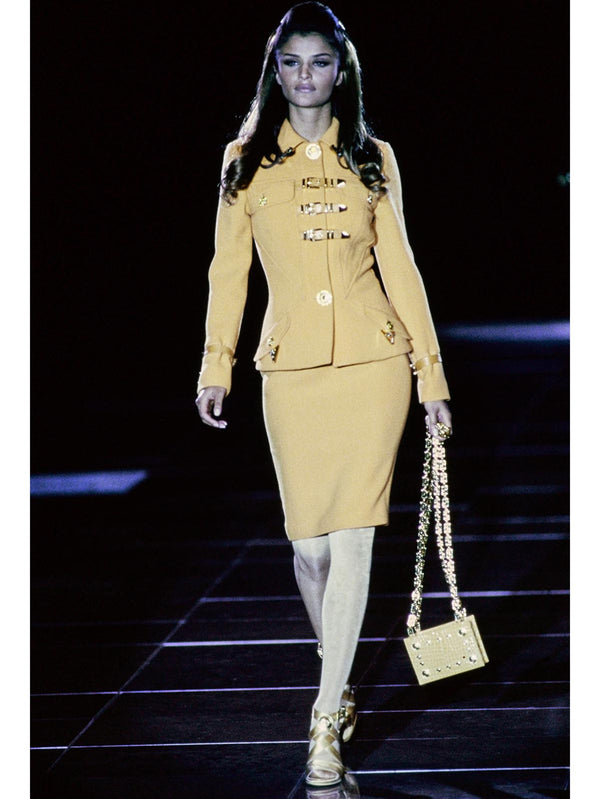 Sold - GIANNI VERSACE Couture Fall 1992 Bondage Skirt Suit Size S