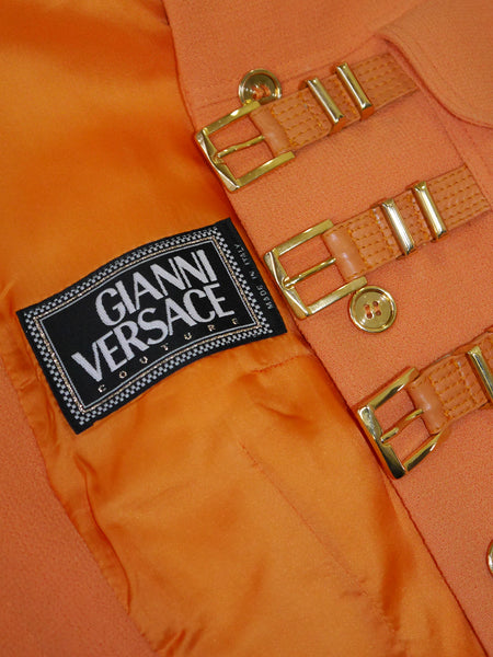 Sold - GIANNI VERSACE Couture A/W 1992/93 Bondage Skirt Suit Size S