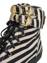 GIANNI VERSACE Spring 1993 Vintage Striped Medusa Bondage Sneakers Shoes EU 39,5