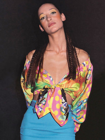 Sold - GIANNI VERSACE S/S 1993 Vintage Miami Collection Silk Blouse Size S