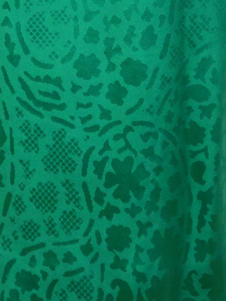 GIVENCHY 1970s Vintage Green Jacquard Silk Dress Size XXS-XS