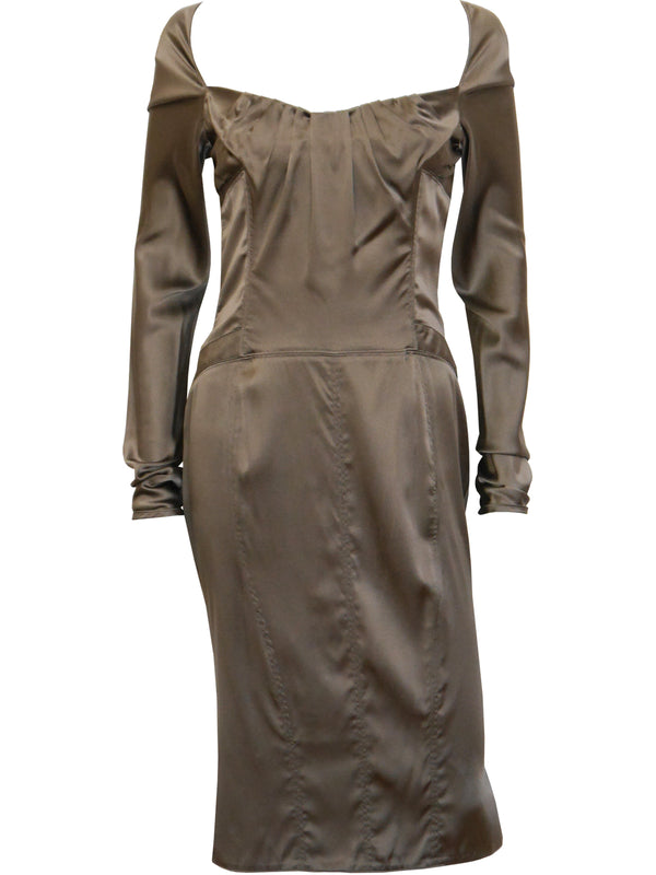 GUCCI by Tom Ford Fall 2003 2000s Vintage Liquid Silk Dress