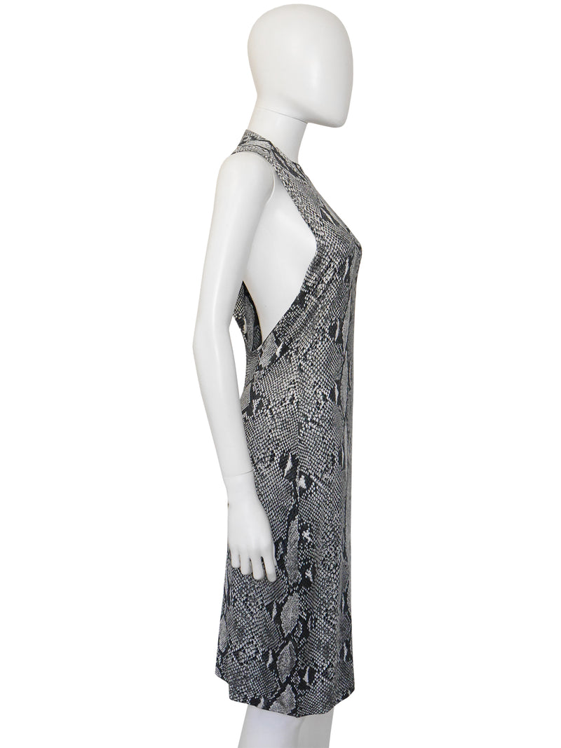 GUCCI by TOM FORD Spring 2000 Vintage Asymmetrical One-Sleeve Python Snake Print Dress Size S