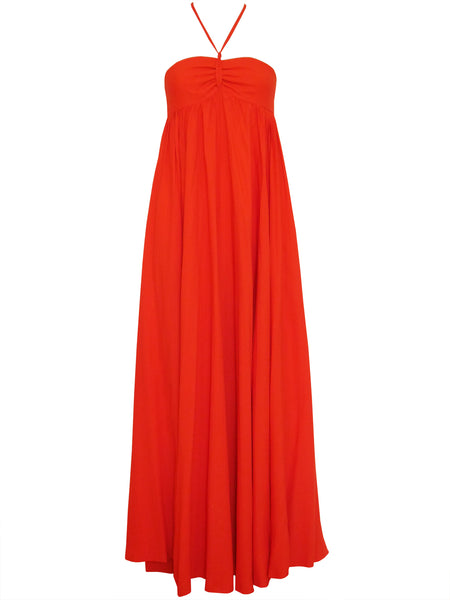 HEINZ RIVA 1970s Vintage Red Maxi Evening Dress Size XXS-XS