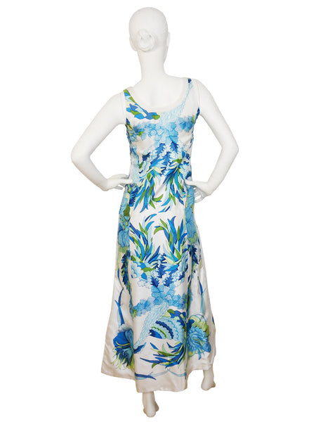 HERMÈS Vintage Printed Silk Maxi Dress Size S