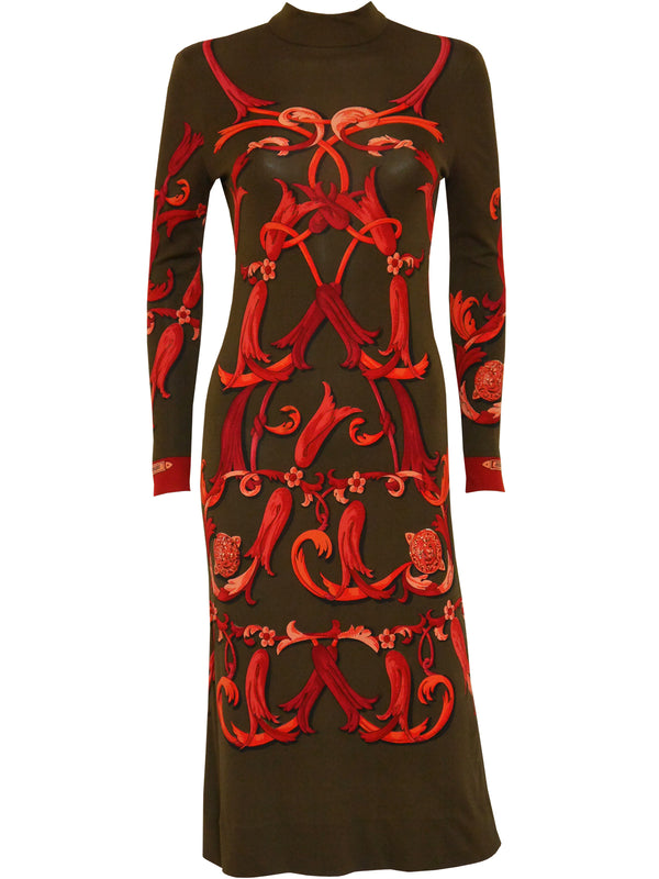 HERMÈS 1970s Vintage Signature Print Silk Jersey Midi Dress