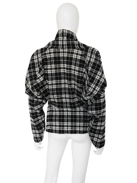 Sale - ISSEY MIYAKE F/W 1987/88 Documented Plaid Jacket w/ Twisted Collar Size S