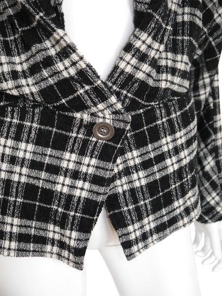 ISSEY MIYAKE F/W 1987/88 Documented Plaid Jacket w/ Twisted Collar Size S