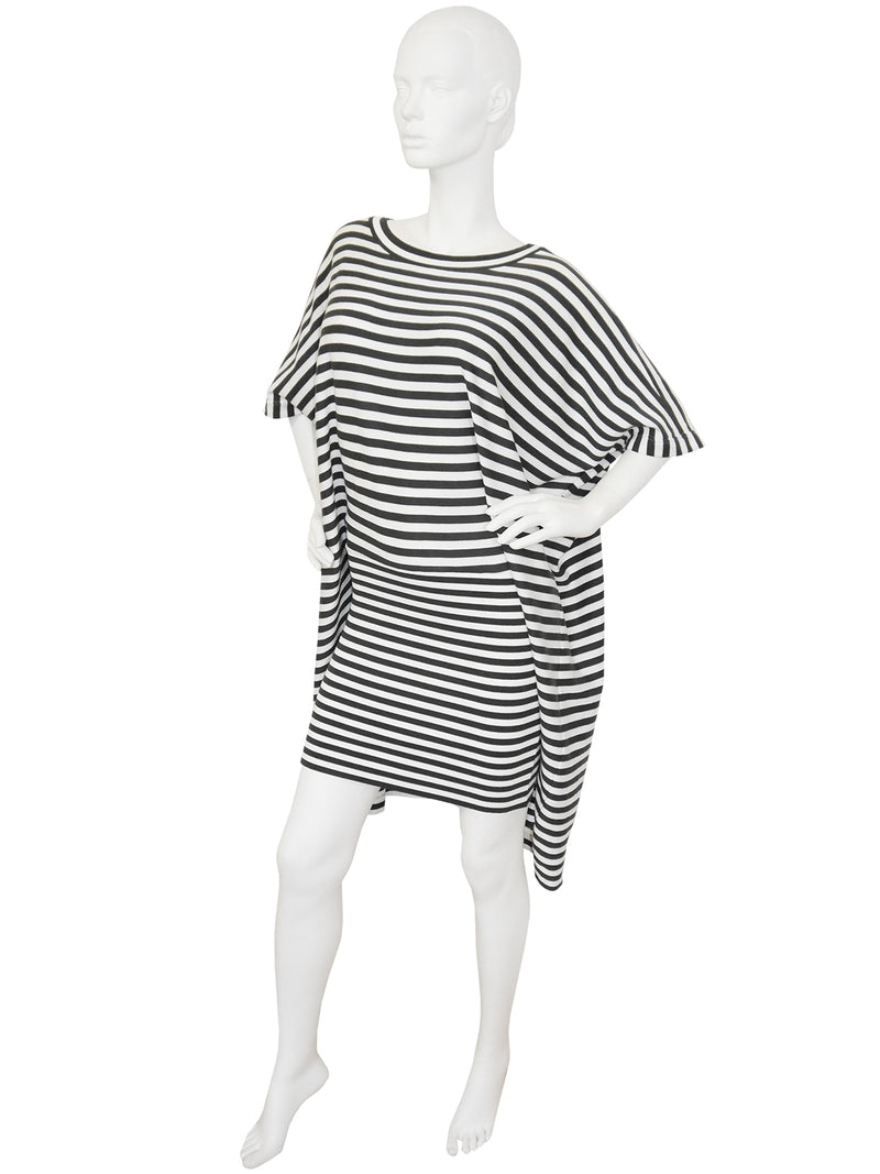 "ISSEY MIYAKE c. 1985 Vintage Documented Striped ""Two-in-One"" Dress Size S"