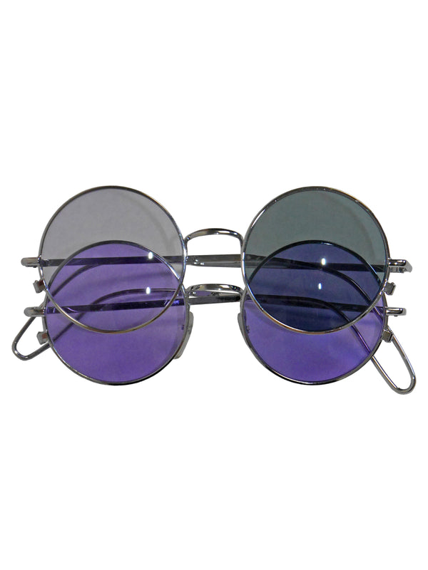 ISSEY MIYAKE Fall 1989 Vintage Round Double-Layered Sunglasses