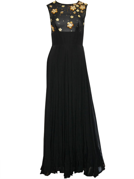 JACQUES HEIM 1960s Vintage Beaded Silk Chiffon Evening Dress