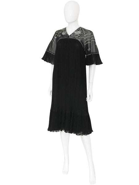 Sale - JANICE WAINWRIGHT 1970s Vintage Pleated Embroidered Dress Size S-M