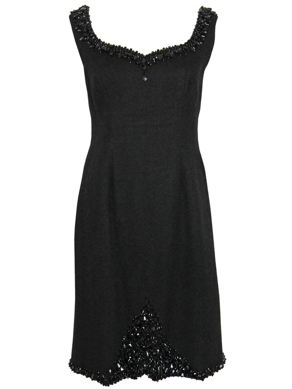 JEAN-LOUIS SCHERRER 1960s Beaded Little Black Cocktail Dress Size M